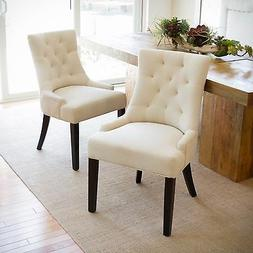 Janelle Beige Tufted Fabric Dining Chairs
