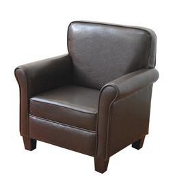Kinfine USA Inc. HomePop Youth Leatherette Club Chair, Dark