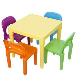 Kids Furniture Plastic Table and 4 Chairs Set Primary Chairs