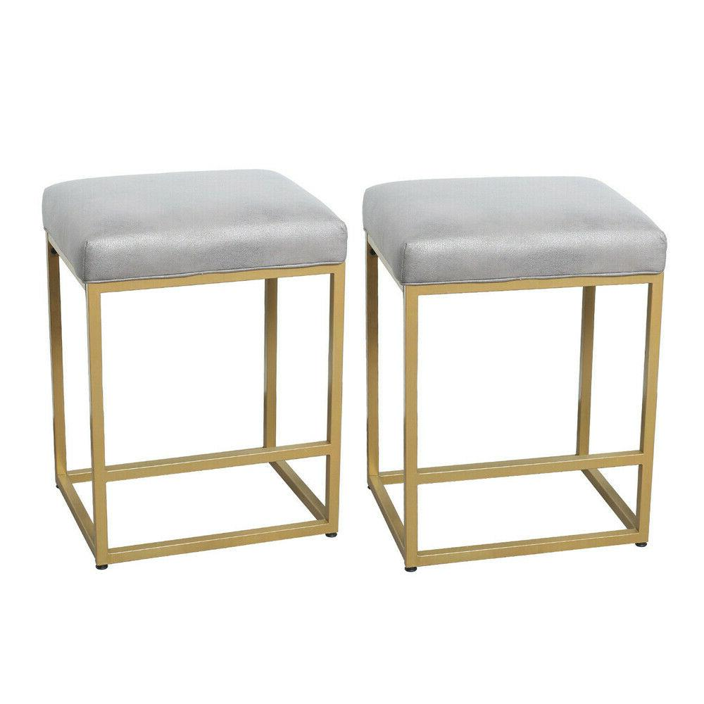 """24"""" Faux Seat Stools Chairs Set of 2 Heavy"""