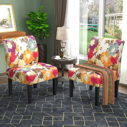 2PCS Accent Upholstered Tufted Floral