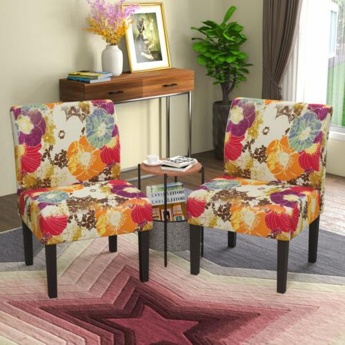 2PCS Accent Upholstered Printed