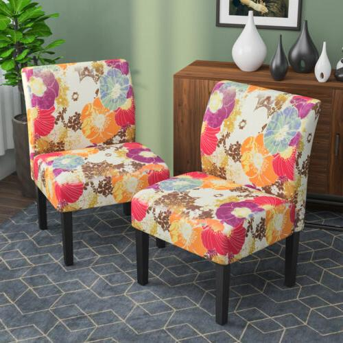 2pcs armless accent chair upholstered tufted sofa