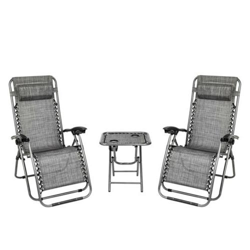 3 PCS Zero Gravity Chair Patio Chaise Lounge Chairs Recliner