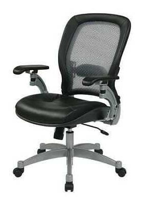 """OFFICE STAR 3680 Desk Chair,Leather,Black,18-22"""""""