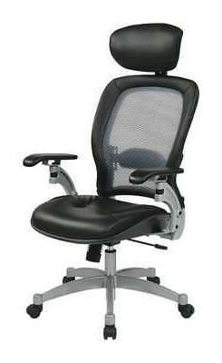 """OFFICE STAR 36806 Desk Chair,Leather,Black,18-22"""" Seat Ht"""