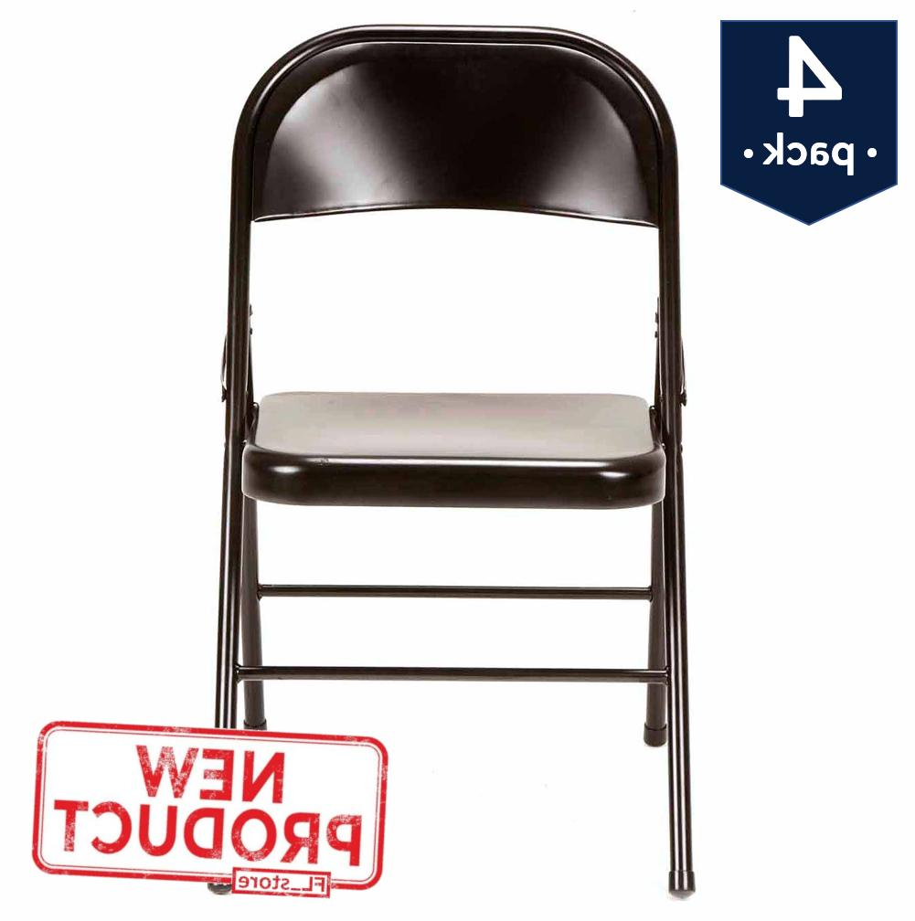 4 pack steel folding chair seat portable