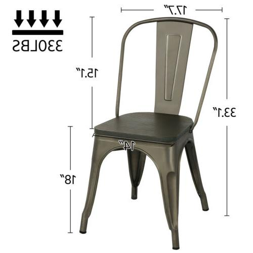 4pcs Chair with Wooden Stackable Side Chairs Indoor-Outdoor