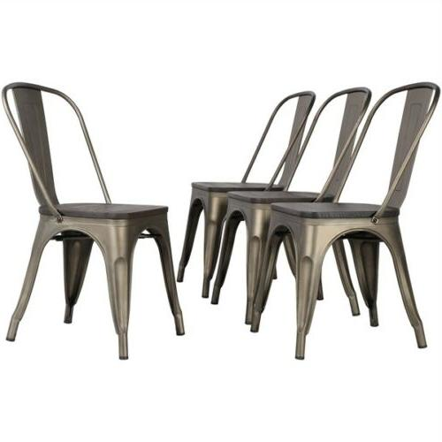 4pcs metal dining chair with wooden seat