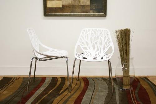 Birch Sapling White Accent Chair, Set