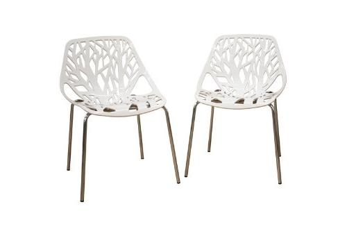 Birch Sapling White Plastic Accent / Dining Chair, Set of 2