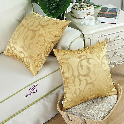 """CaliTime Pillow Covers for Couch Sofa Home Decor Floral Gold 18x18"""""""