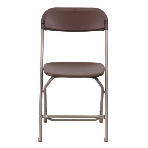 Flash 800-Pound Premium Plastic Folding Chair, Brown