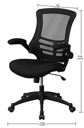 Flash Furniture Mid-Back Black Mesh Swivel Task with Flip-Up