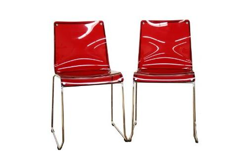 Lino Transparent Red Acrylic Dining Chair, Set of 2