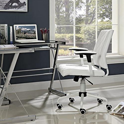 Modway Lattice Modern Leather Mid Office White