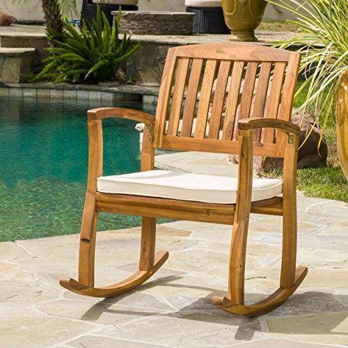 acacia wood rocking chair