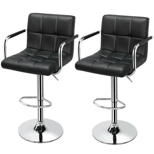 Adjustable Modern Stools Counter Height Leather 2