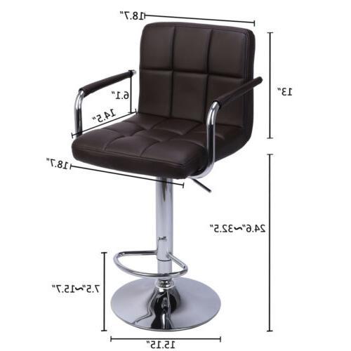 Adjustable Modern Swivel Bar Stools Dining Height Leather Set of 2