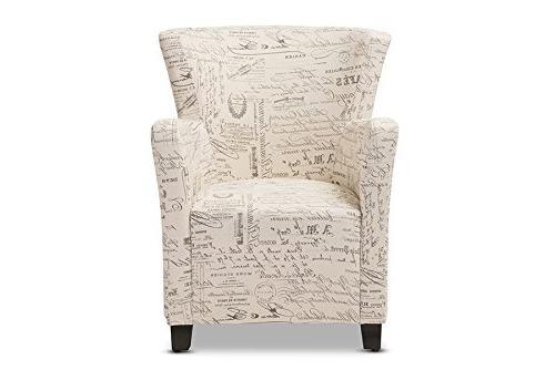Baxton French Script Fabric Club Chair