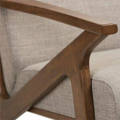 Baxton Bianca Tufted Accent Chair Gray Walnut