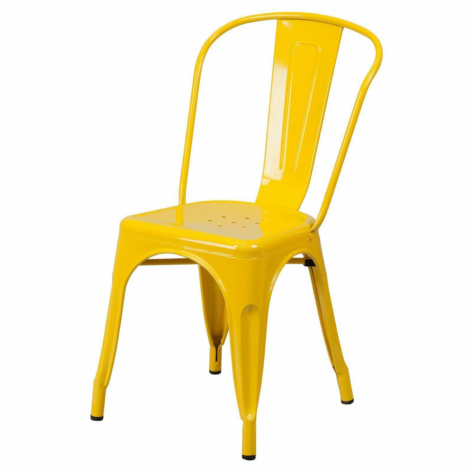 blue metal indoor stackable chair