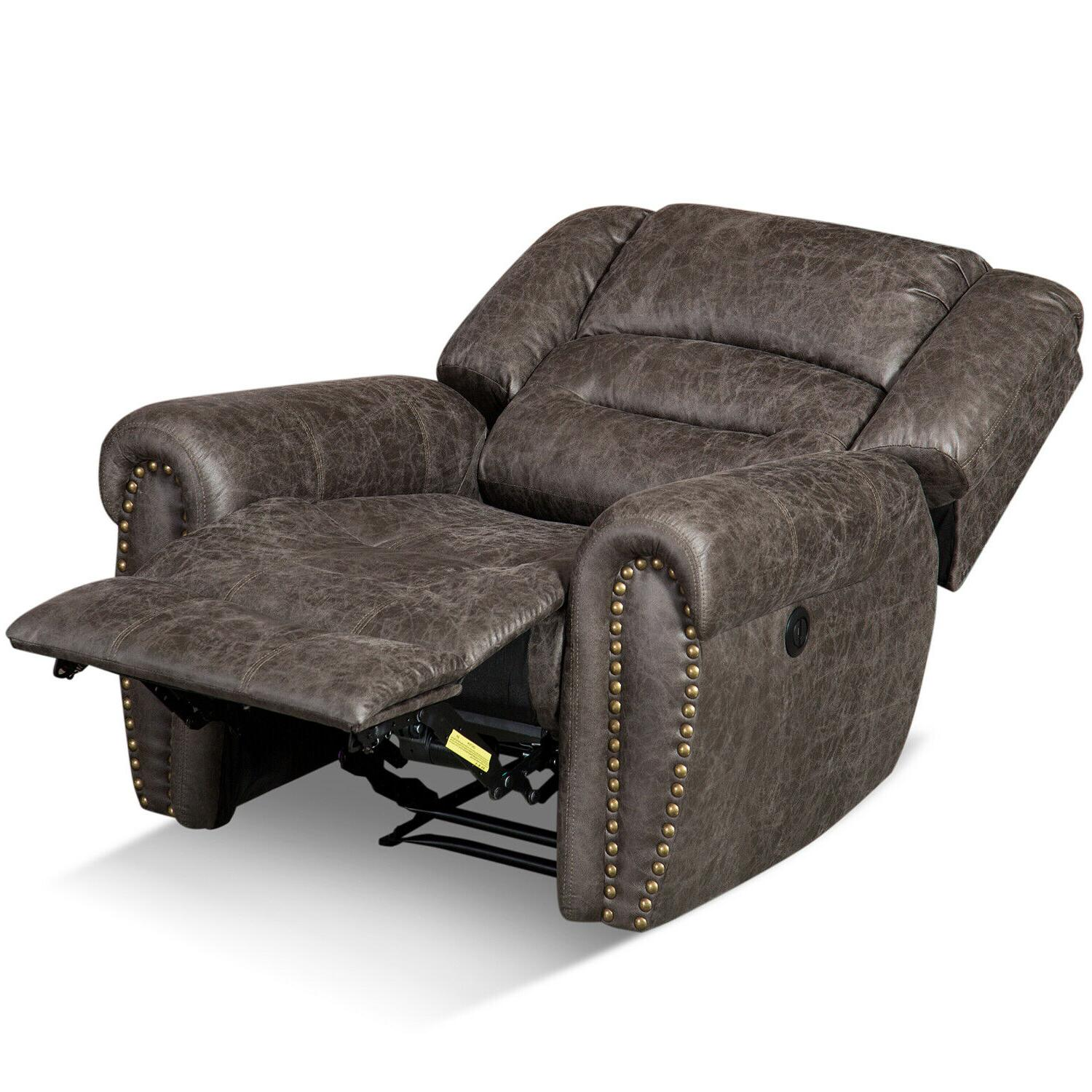 Bonded Leather Recliner w/Nails Thick