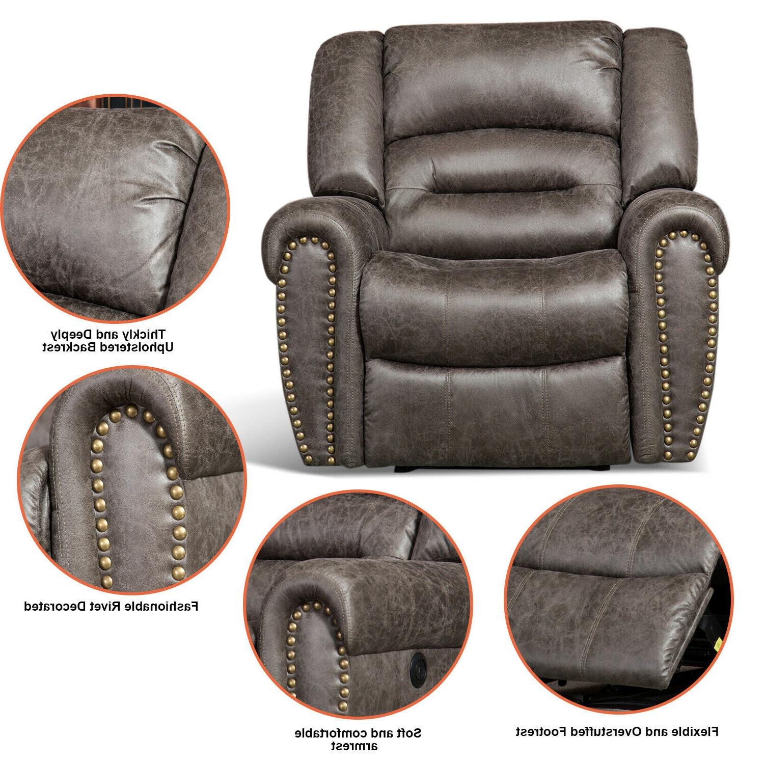 Bonded Leather Recliner Chair Thick Sofa