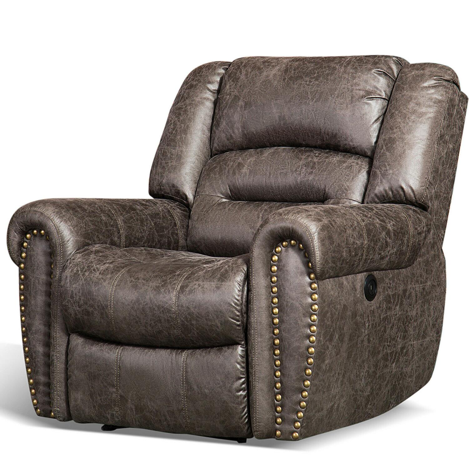 bonded leather electric power recliner chair w