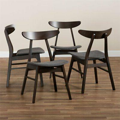 Baxton Dark Oak Wood Dining in Dark - Set of