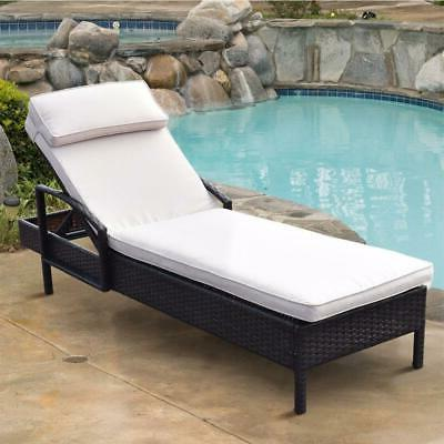Giantex Brown Chaise Outdoor Reclining Lounge Chair