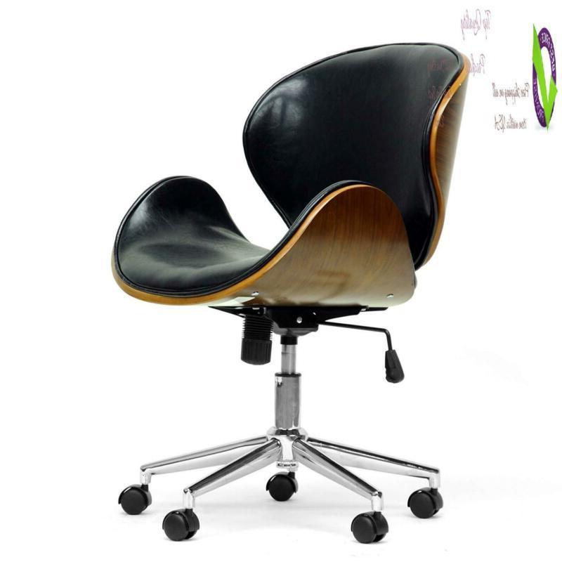 bruce modern office chair walnut black