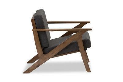 Baxton Studio Cayla Lounge Chair Grey Walnut