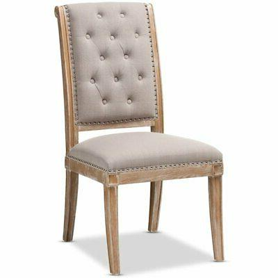 charmant tufted dining side chair in beige