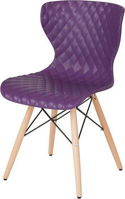 Contemporary Design Purple Plastic Chair with Wooden Legs