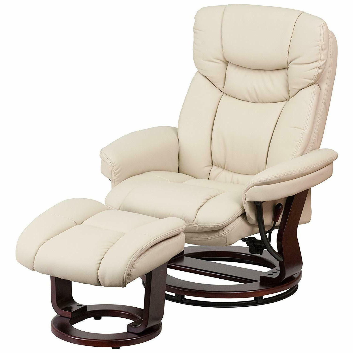 Flash Furniture Leather Recliner and Ottoman with Swiveling