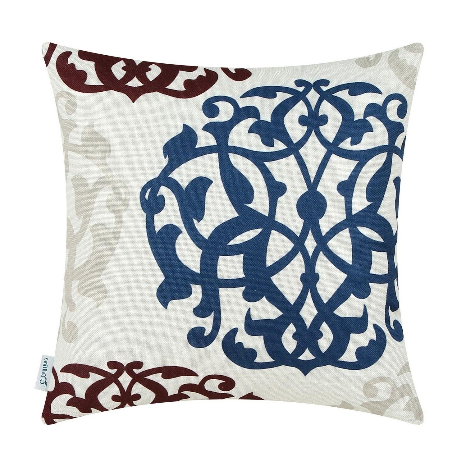 """CaliTime Covers Cases Floral Geometric 18""""X18"""""""