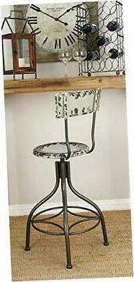 Deco 79 Metal Bar Chair, 41 by 18-Inch, Industrial Grey with