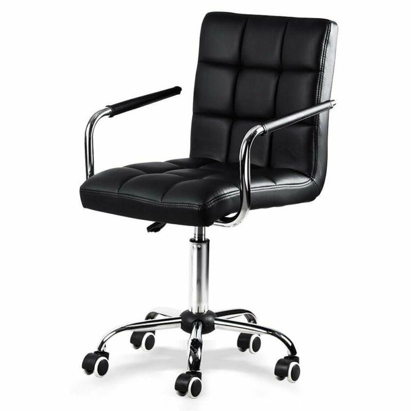 Yaheetech Desk Chair - Office Chair White With Arms/Wheels F