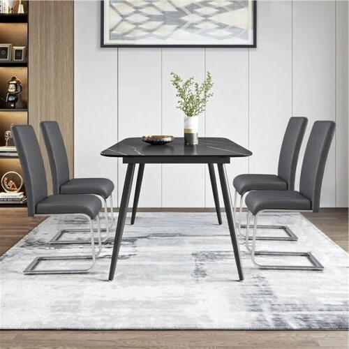 Dining Chairs Leather Dining Room Metal 2PCS