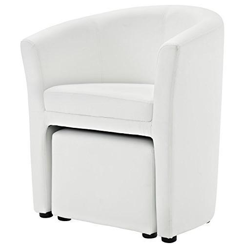 Modway Divulge Faux Armchair Set White