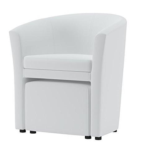 Modway Divulge Faux Armchair and Ottoman 2-Piece Set White
