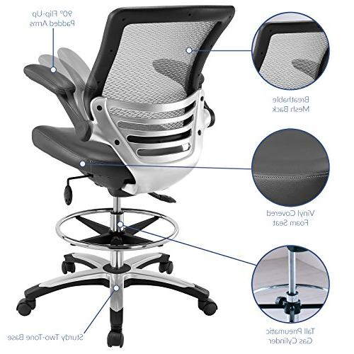 Modway Edge Drafting Reception Chair - Tall Chair Adjustable Standing Flip-Up Drafting Chair