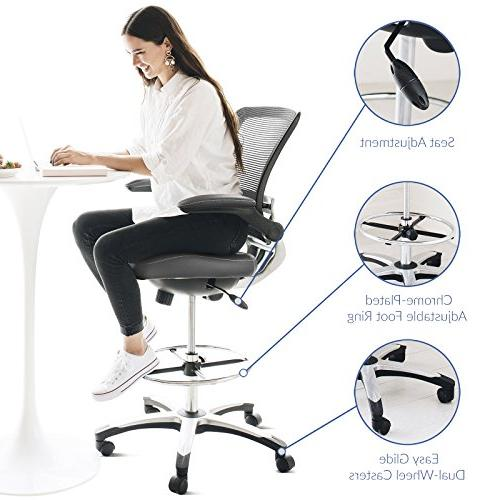 Modway Drafting In Gray - Reception - Tall Adjustable Standing - Flip-Up Arm Chair