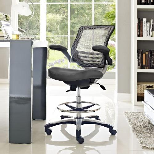 Modway Edge Chair In Vinyl Reception Tall Office Flip-Up Drafting Chair