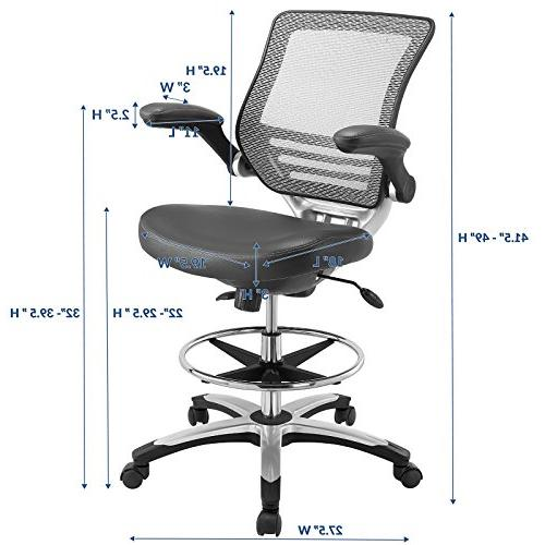 Modway Drafting Chair In Vinyl Reception Desk Chair Tall Chair Adjustable Standing Desks Flip-Up Arm