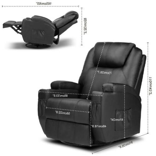 Electric Recliner Massage Sofa PU Lounge Vibration W/RC