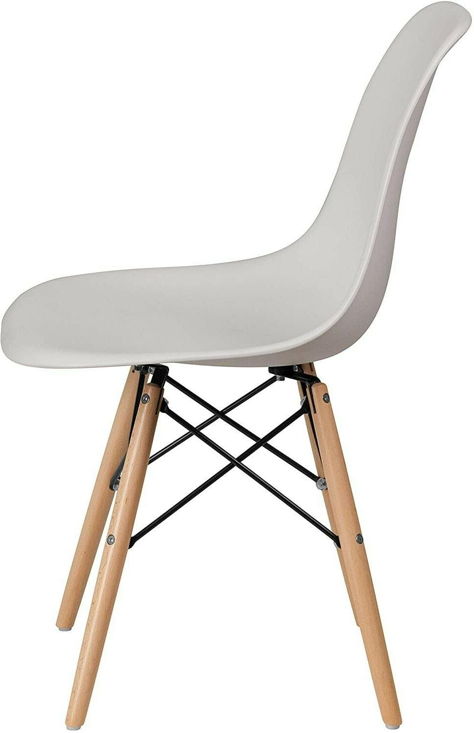 Flash White Plastic Chair with Wooden