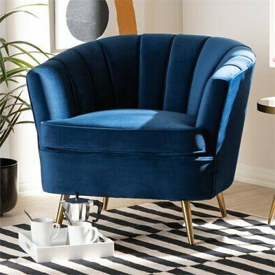 Baxton Blue Velvet Accent