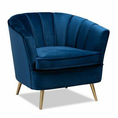 emeline navy blue velvet accent chair